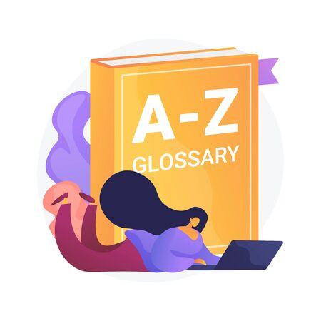 Studio della lingua inglese. Glossario Internet, vocabolario moderno, idea dizionario. Traduttore con laptop. Donna che cerca definizione online. Illustrazione di metafora di concetto isolato vettoriale