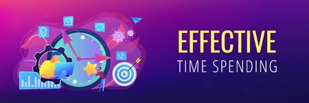 Businessman trying to accomplish tasks and goals on time and big clock and computer. Time management, effective time spending, time planning concept. Header or footer banner template with copy space. Illusztráció