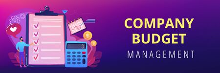 Financial analyst planning at checklist on clipboard, calculator and calendar. Budget planning, balanced budget, company budget management concept. Header or footer banner template with copy space.