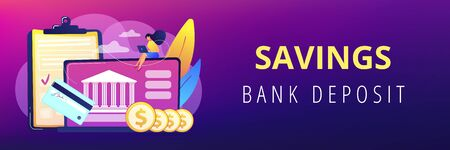 Customer sitting with laptop and bank with credit card and financial savings. Personal bank account, savings bank deposit, fixed rate loan concept. Header or footer banner template with copy space. Illusztráció