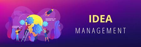 Idea management concept banner header. Ilustrace