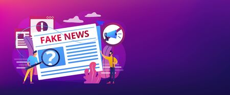 False information broadcasting. Press, newspaper journalists, editors. Fake news, junk news content, disinformation in media concept. Header or footer banner template with copy space. Stock Illustratie