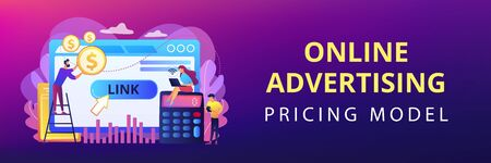Business analytics, commerce metrics, SEO. Cost per acquisition CPA model, cost per conversion, online advertising pricing model concept. Header or footer banner template with copy space. Illustration