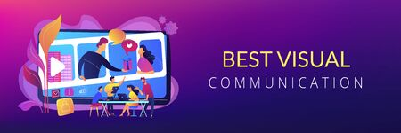 Video chatting, Internet hosting. Market tendencies analyzing. Visual storytelling, eye-catching design trend, best visual communication concept. Header or footer banner template with copy space. Vetores