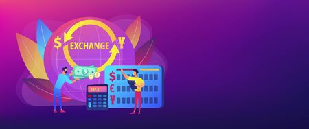 Currency exchange concept banner header  イラスト・ベクター素材