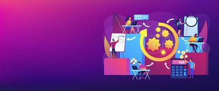 Workflow processes concept banner header. Illusztráció