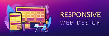 Responsive web design concept banner header.