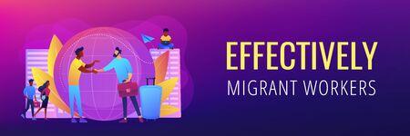 Expat work concept banner header. Stock Illustratie