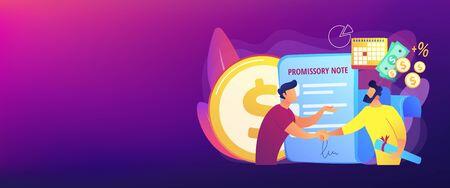 Promissory note concept banner header Stock Illustratie