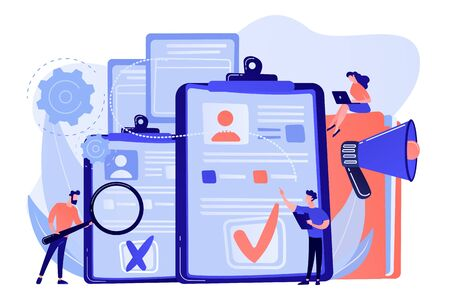 Company hr managers hiring a new employee using resume, magnifier and megaphone. Hiring employee, filling out resume, hiring process concept. Pink coral blue vector isolated illustration Иллюстрация
