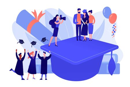 Graduating with friends. Proud parents with graduated student. Graduation day, getting an academic degree, graduation announcements concept. Pinkish coral bluevector isolated illustration 向量圖像