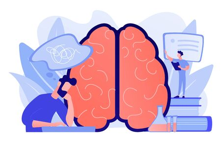 Patient with thought bubble and doctor examining brain. Alzheimer disease and dementia, dotage and memory loss concept on white background. Pinkish coral bluevector isolated illustration Stock Illustratie
