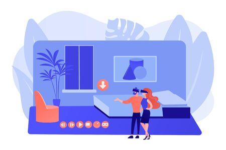 Paar in VR-Brille. Simulation der virtuellen Realität von Immobilien. Virtueller Rundgang durch Immobilien, virtueller VR-Hausrundgang, virtuelle Rundgänge, die ein Dienstleistungskonzept erstellen. Rosa korallenblaue isolierte Vektorgrafik