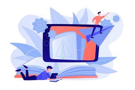 Utilisateur avec livre et tablette se regardant voler sur un avion en papier en réalité augmentée. Technologie d'apprentissage de la réalité virtuelle, concept d'application de divertissement. Illustration vectorielle isolée.