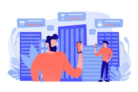 People checking cafe, bar and retail shop rates and ranks with smartphones. Intelligent service systems, smart navigation, IoT and smart city concept. Vector illustration on background