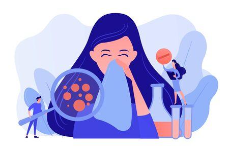 Female patient sneezing, taking a pill from doctor and allergen under magnifier. Allergic diseases, allergy reaction, antihistamines therapy concept. Pinkish coral bluevector vector isolated illustration