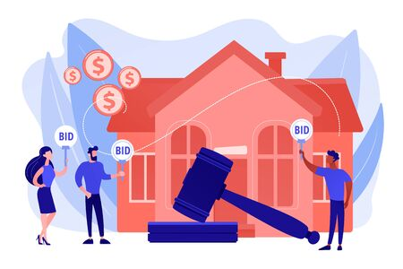 Property buying and selling. Auction house, exclusive bids here, consecutive biddings processing, business that runs auctions concept. Pinkish coral bluevector isolated illustration Illustration