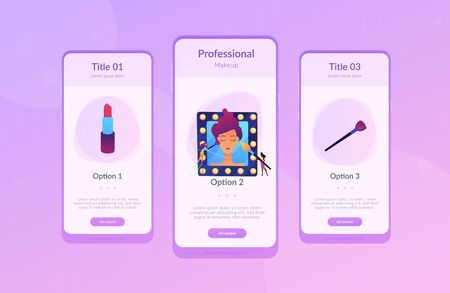Professional makeup artists applying make up with brush on woman face in mirror. Professional makeup, pro artistry, makeup artist work concept. Mobile UI UX GUI template, app interface wireframe Illusztráció