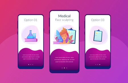 Surgeons with syringe doing facial contouring surgery to woman. Facial contouring, medical face sculpting, facial correction surgery concept. Mobile UI UX GUI template, app interface wireframe
