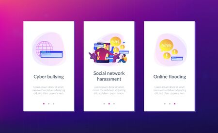 Bully in smartphone harassing, threatening and intimidating upset victim online. Cyberbullying, online flooding, social network harassment concept. Mobile UI UX GUI template, app interface wireframe