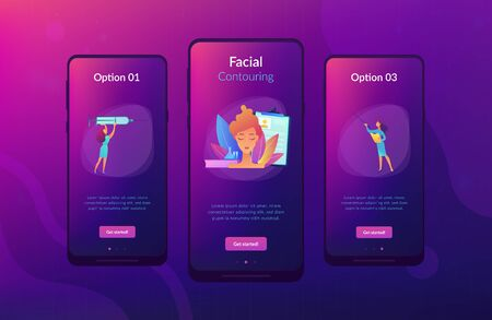 Surgeons with syringe doing facial contouring surgery to woman. Facial contouring, medical face sculpting, facial correction surgery concept. Mobile UI UX GUI template, app interface wireframe Stock Vector - 133208243