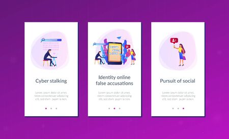 Stalker with laptop controls and intimidates the victim with messages. Cyberstalking, pursuit of social identity, online false accusations concept. Mobile UI UX GUI template, app interface wireframe Ilustração
