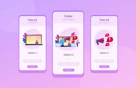 Target individual with laptop attacked online by user with megaphone. Internet shaming, online harassment, cyber crime action concept. Mobile UI UX GUI template, app interface wireframe Ilustração