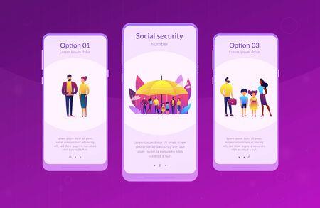 Individuals under umbrella protection against economic hazards. Social insurance, economic hazards risk, social security number concept. Mobile UI UX GUI template, app interface wireframe