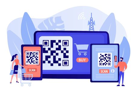 Barcode reading app, qrcode reader epayment transaction application. QR code scanner, QR generator online, QR code payment concept. Pinkish coral bluevector isolated illustration Çizim