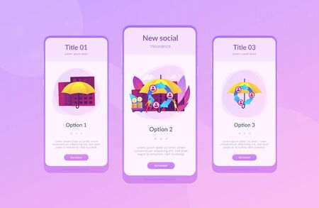 Individuals pool their premiums together to insure against a risk. Peer-to-Peer insurance, P2P collaborative risk, new social insurance concept. Mobile UI UX GUI template, app interface wireframe Ilustrace