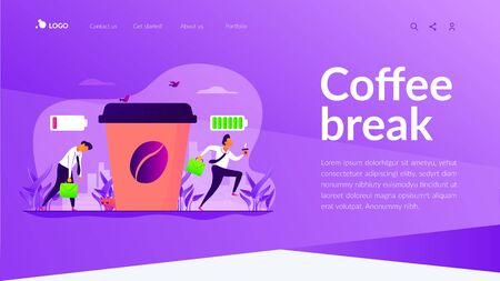 Depressed office worker, stress and emotional burnout. Caffeine stimulating effect. Coffee break, low energy, tiredness and energizing concept. Website homepage header landing web page template. Иллюстрация