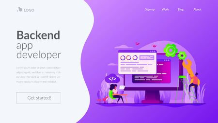 Back end development landing page template Иллюстрация