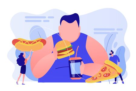 Overeating addiction concept vector illustration. Vector Illustration