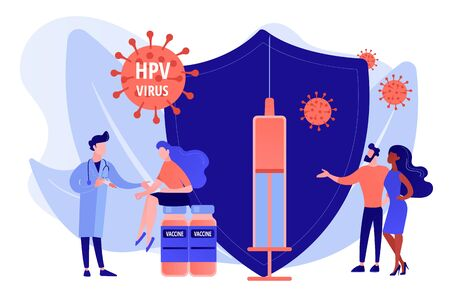 HPV infection medication. Virus prevention. HPV vaccination, protecting against cervical cancer, human papillomavirus vaccination program concept. Pinkish coral bluevector vector isolated illustration Illustration