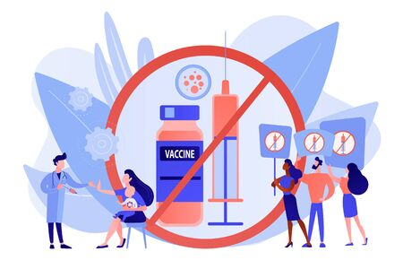 Anti-vaccination protest, people rejecting preventive medicine. Vaccine refusal, mandatory immunization, vaccination hesitancy concept. Pinkish coral bluevector vector isolated illustration