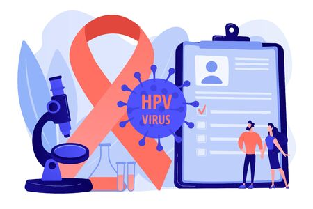 Human papillomavirus development. Disease symptom. Risk factors for HPV, HPV infection leads to cervical cancer, cervical cancer screening concept. Pinkish coral bluevector vector isolated illustration