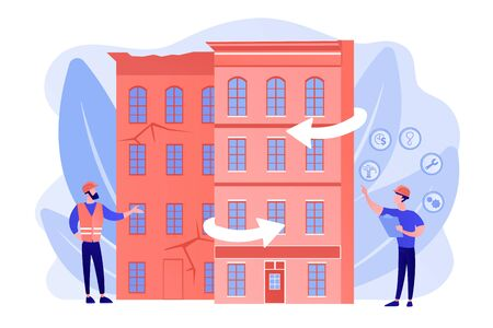 Residential house reconstruction, city renovation. Old buildings modernization, building up service, construction modernization solutions concept. Pinkish coral bluevector isolated illustration