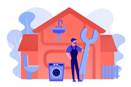 Repairman service. Handyman with wrench, mechanic. Plumber services, full service sewer and drain repair, cheap and reliable plumbers concept. Pinkish coral bluevector isolated illustration