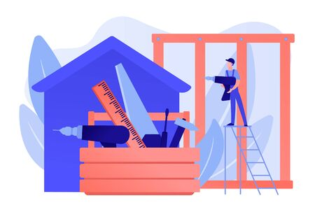 Building construction site. Handyman working. Carpenter services, building maintenance and home renovation, get local carpenters concept. Pinkish coral bluevector isolated illustration