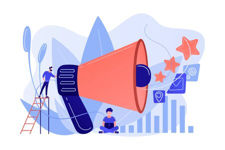 Businessman with megaphone promote media icons. Sales promotion and marketing, pomotion strategy, promotional products concept on white background. Pink coral blue vector isolated illustration