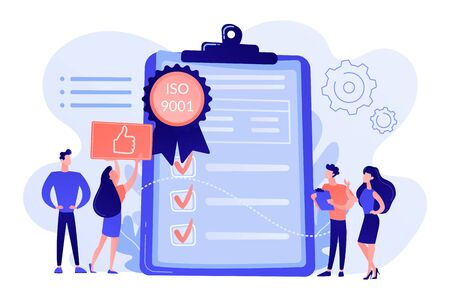 Tiny business people like standard for quality control. Standard for quality control, ISO 9001 standard, international certification concept. Pink coral blue vector isolated illustration Stockfoto - 133796941