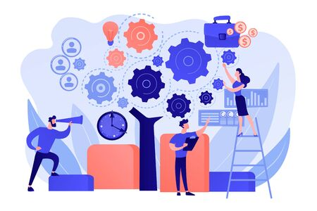 Business operation planning. Software technology integration. Enterprise architecture, IT standard for your business, business it management concept. Pink coral blue vector isolated illustration Ilustração