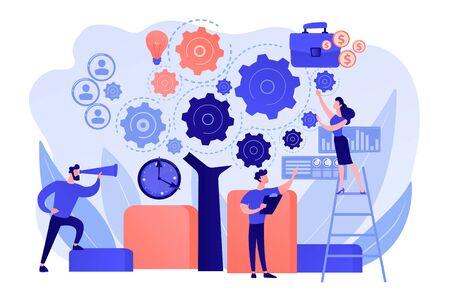Pianificazione delle operazioni aziendali. Integrazione della tecnologia software. Architettura aziendale, standard IT per la tua azienda, concetto di gestione aziendale. Illustrazione isolata di vettore blu corallo rosa