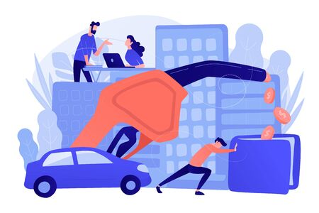 People loosing money by using gas fuel cars. Gas mileage, fuel saving and efficient green eco friendly engine technology concept. Pinkish coral blue palette. Vector illustration on white background. Vector Illustration