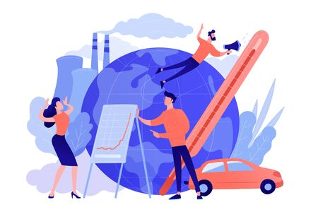 People in panic to announce global heating data. Globe with power plant and traffic fumes as a symbol of environment pollution, global heating impact. Pinkish coral blue palette. Vector illustration on background Ilustração