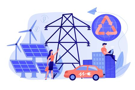 Business people use clean renewable electric energy in the city. Renewable energy, renewable power resources, rural energy services concept. Pinkish coral bluevector isolated illustration
