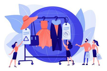 Recycelbares und Öko-Textil. Nachhaltige Mode, nachhaltige Herstellungsmarke, grüne Technologien in der Mode, ethisches Produktionskonzept für Kleidung. Rosa korallenblaue Vektor-isolierte Darstellung Vektorgrafik