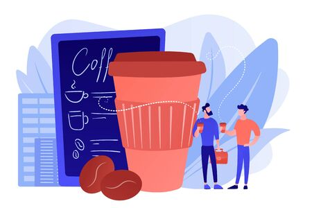 Businessmen drinking take away coffee at huge paper coffee cup and beans. Take away coffee, on the go drink, take away business concept. Pinkish coral bluevector isolated illustration
