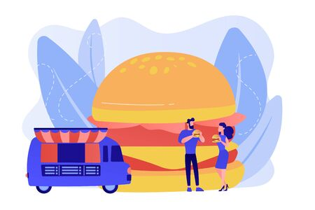 Huge hamburger and businessman and woman eating in the street near truck. Street food, city food truck, street food festival concept. Pinkish coral bluevector isolated illustration