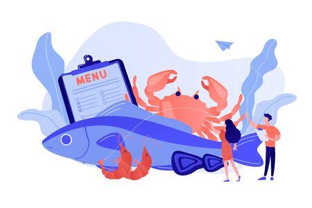 Seafood menu concept vector illustration.